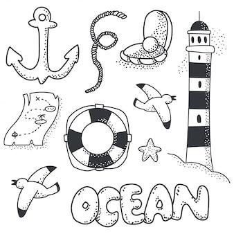 Insieme di vettore dell'elemento di schizzo di doodle dell'oceano isolato.