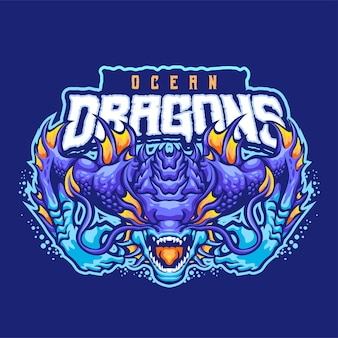 Modello di logo della mascotte dei draghi dell'oceano