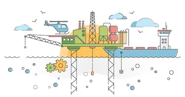 Piattaforma di perforazione oceanica con piattaforma petrolifera e concetto di struttura della pompa del carburante.