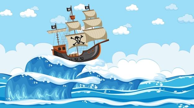 Scena dell'oceano di giorno con nave pirata in stile cartone animato