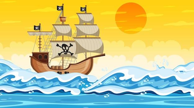 Scena dell'oceano all'ora del tramonto con la nave dei pirati in stile cartone animato