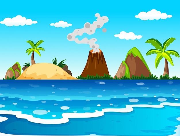 Scena dell'oceano con vulcano e isola