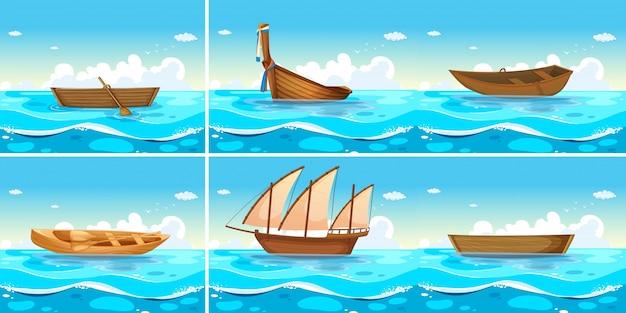 Scene oceaniche con barche sull'acqua