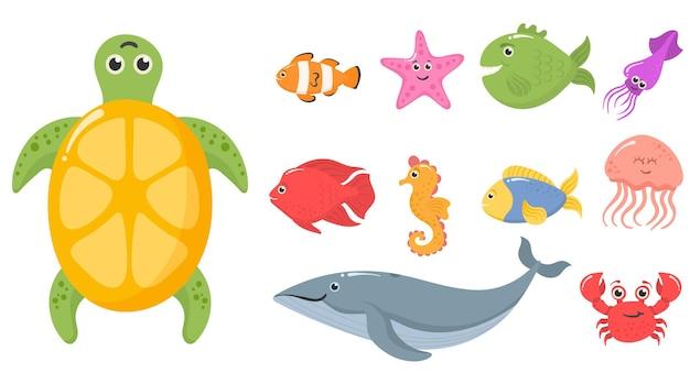 Oceano mare animali piante acquatiche divertenti creature subacquee tropicali set di pesci d'acquario esotici