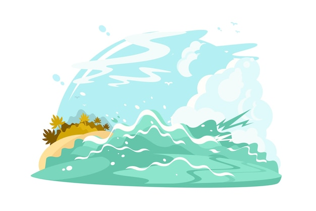 Illustrazione delle onde della riva dell'oceano. acqua blu cristallina e sabbia stile piatto. brezza dell'oceano.