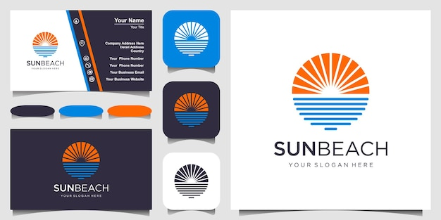 Ocean sun wave logo design template e business card design