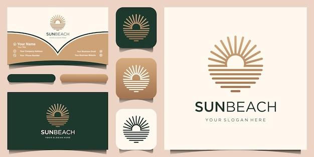 Ocean sun wave logo design template e business card design
