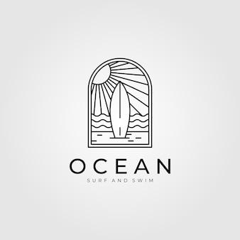 Ocean surf linea arte logo
