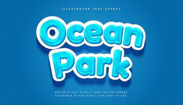 Effetto carattere stile testo tema oceano