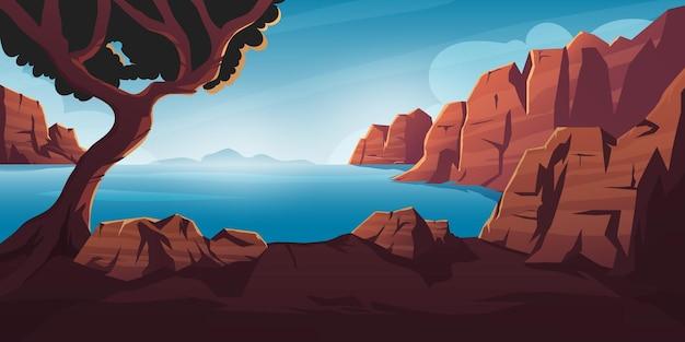 Ambiente di sfondo vista oceano con montagne e colline