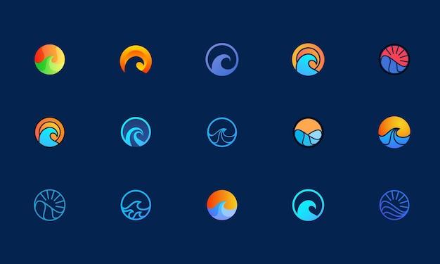 Design del logo dell'onda dell'oceano, set di modelli di logo adatti all'identità