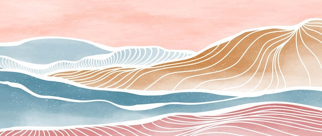 Onda oceanica e montagna. stampa artistica di linea moderna minimalista creativa e dipinta a mano. astratti sfondi estetici contemporanei paesaggi. illustrazioni vettoriali