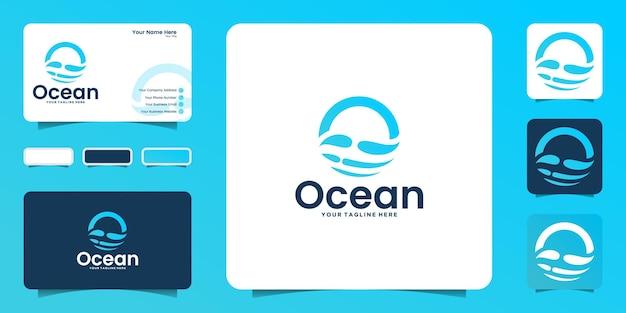 Ispirazione e biglietto da visita per il design del logo delle onde dell'oceano