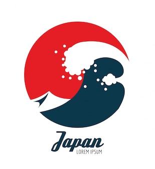 Onde di oceano in cerchio rosso. design icona giapponese. elementi piatti. illustrazione vettoriale