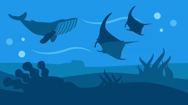Banner stile piatto panoramico ocean wildlife nature