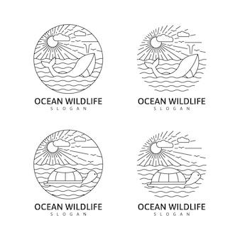 Illustrazione della natura all'aperto monolinea della fauna selvatica dell'oceano