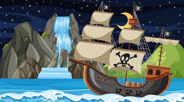 Oceano con nave pirata di notte in stile cartone animato