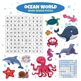 Gioco di puzzle di ricerca di parole nel mondo dell'oceano con divertenti animali marini sorridenti