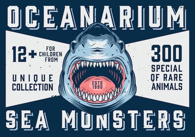 Modello orizzontale di pubblicità oceanarium