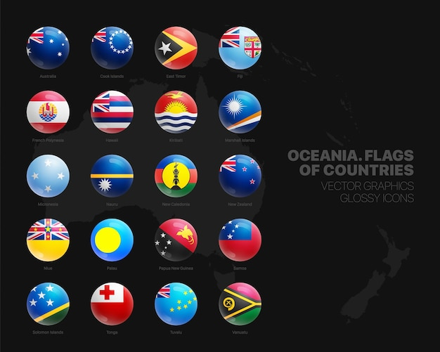 Set di icone lucide della sfera 3d delle bandiere dei paesi dell'oceania Vettore Premium