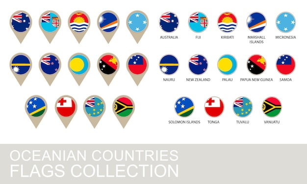 Collezione di bandiere dei paesi dell'oceania, versione 2