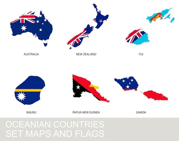 Set di paesi dell'oceania, mappe e bandiere