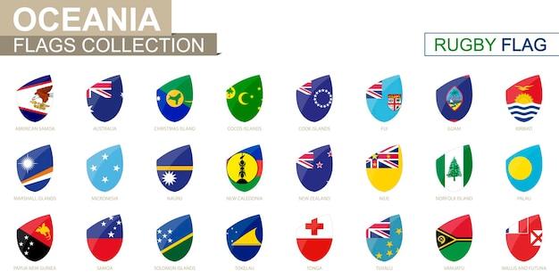 Collezione di bandiere dei paesi dell'oceania. insieme della bandiera di rugby. illustrazione di vettore.