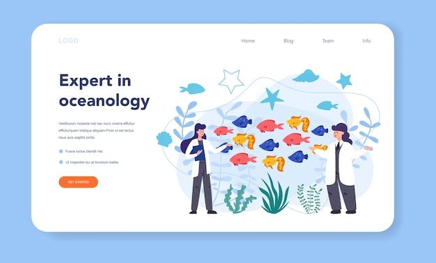 Banner web o pagina di destinazione dell'oceanologo