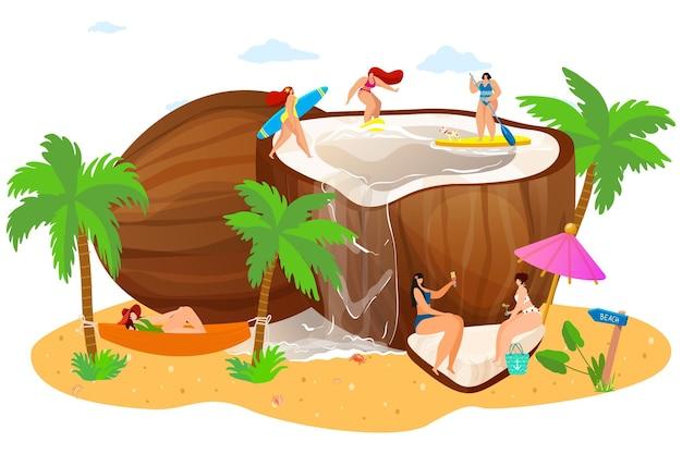 Oconut con persone minuscole sulla spiaggia Vettore Premium