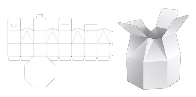 Modello fustellato di scatola per borsa ottagonale
