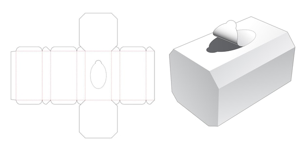 Scatola di fazzoletti ottagonale con cerniera fustellata modello