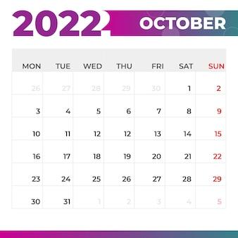 Calendario ottobre 2022