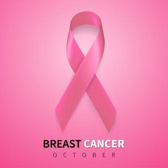 Mese di consapevolezza del cancro al seno di ottobre. simbolo di nastro rosa realistico.