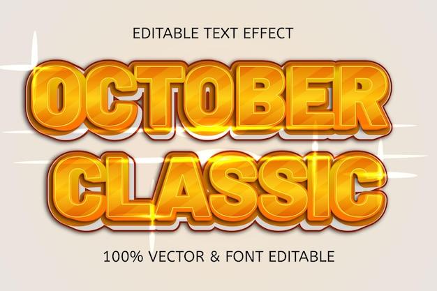 Effetto di testo modificabile di lusso in stile classico di ottobre