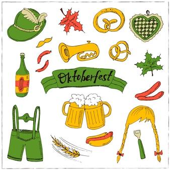 Insieme di doodle di ottobre fest. illustrazione vintage per identità, design, decorazione, confezioni di prodotti e decorazioni d'interni