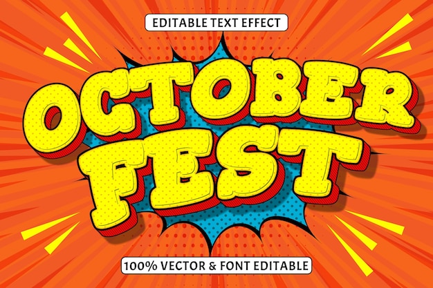 Effetto di testo modificabile per la festa di ottobre 3 dimensioni in rilievo in stile fumetto