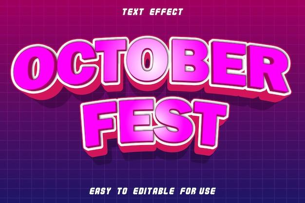 October fest effetto di testo modificabile rilievo in stile moderno