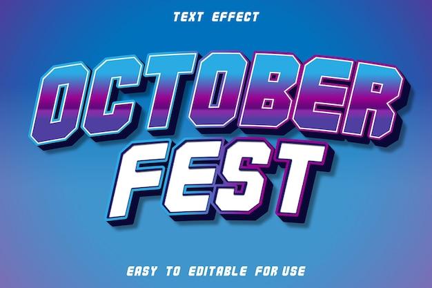 October fest effetto testo modificabile rilievo stile retrò