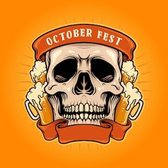 Cranio di fest di ottobre con illustrazioni di nastro di birra