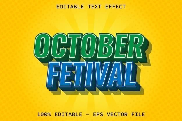 Effetto di testo modificabile in stile moderno festival di ottobre