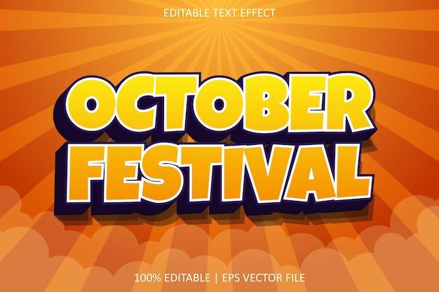 Festival di ottobre con effetto di testo modificabile in stile moderno