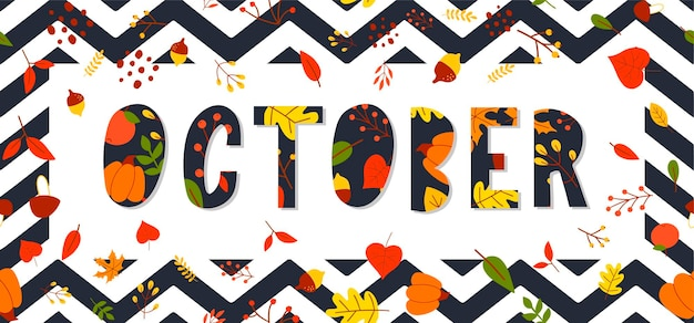 Banner di vettore di vendita di testo di lettere di ottobre con foglie autunnali colorate