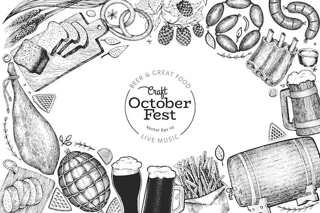 Octoberfest illustrazioni disegnate a mano. saluto modello di progettazione festa della birra in stile retrò. sfondo autunno.