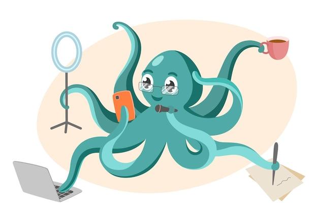 Il blogger di polpo fa molte cose allo stesso tempo multitasking e blogging