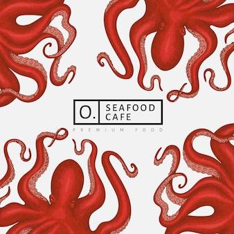 Modello di disegno di polpo. banner di calamari stile inciso. sfondo di zoologia retrò
