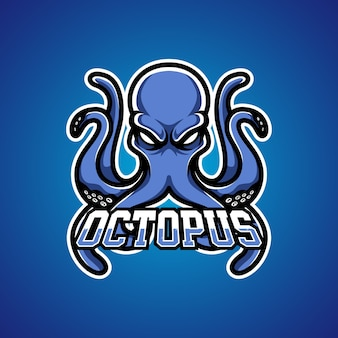 Logo della mascotte di octopus gamer e sports