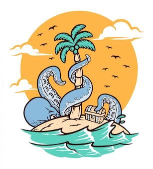 Polpo sull'illustrazione dell'isola