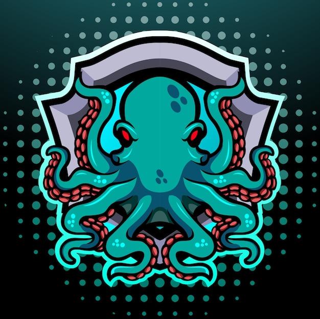 Octopus kraken mascotte esport logo design