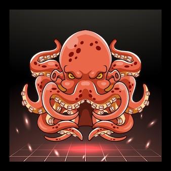 Polpo kraken mascotte esport logo design