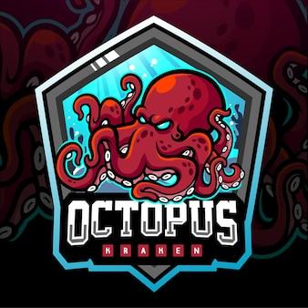 Mascotte del kraken di polpo. logo esport